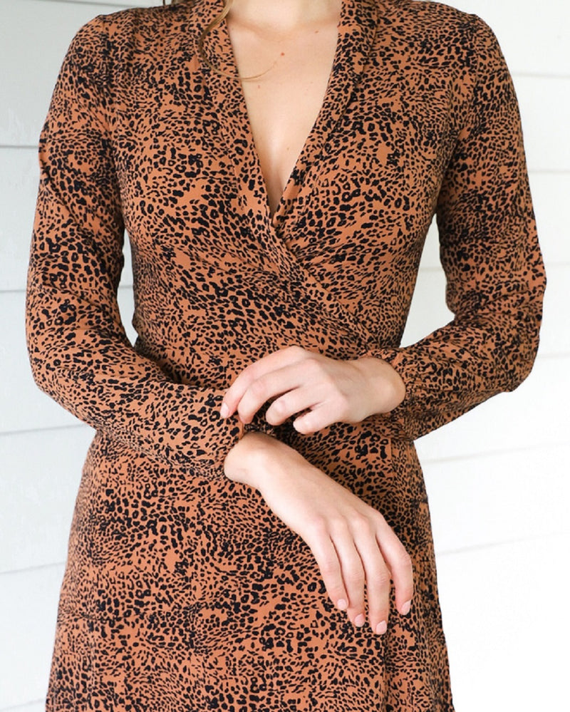 Skye Dress -  Bronze Leopard