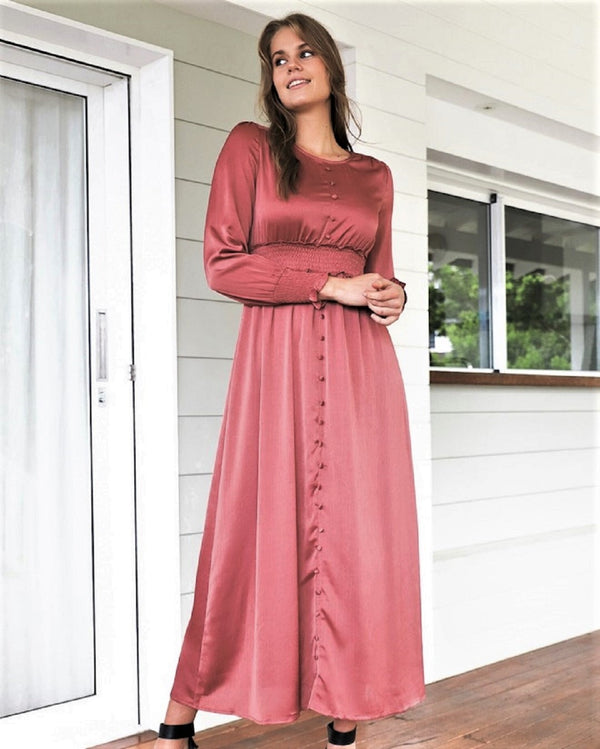 Destiny Long Sleeve Maxi  Dress - Rose