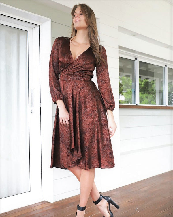 Serina Dress - Rust leopard