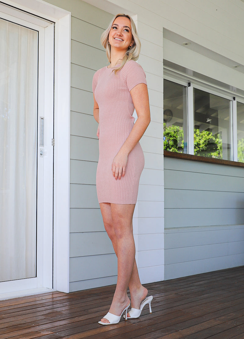 Fatima Mini Knit Dress -Blush
