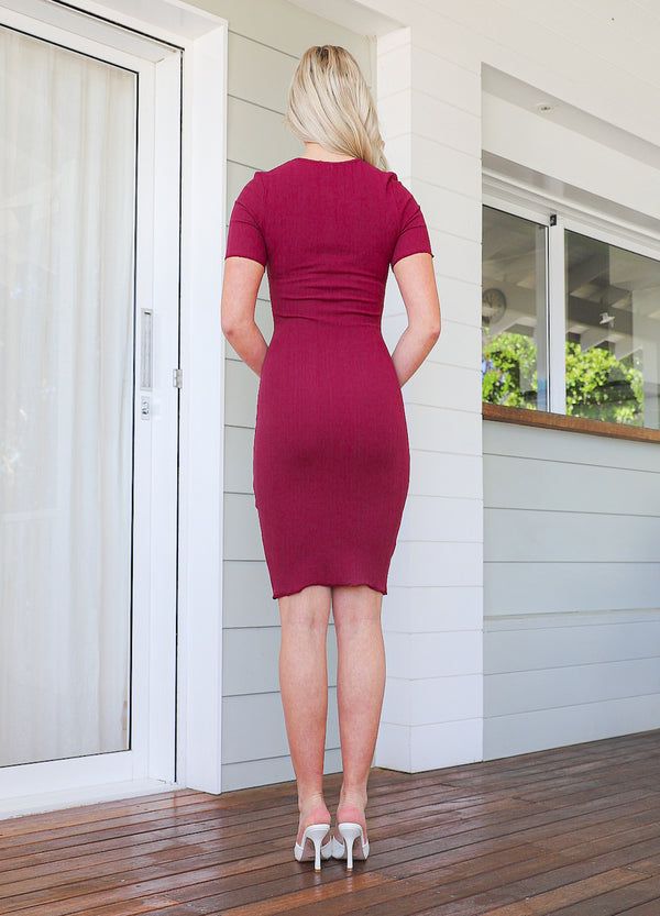 Kaylie Knit  Dress - Wine
