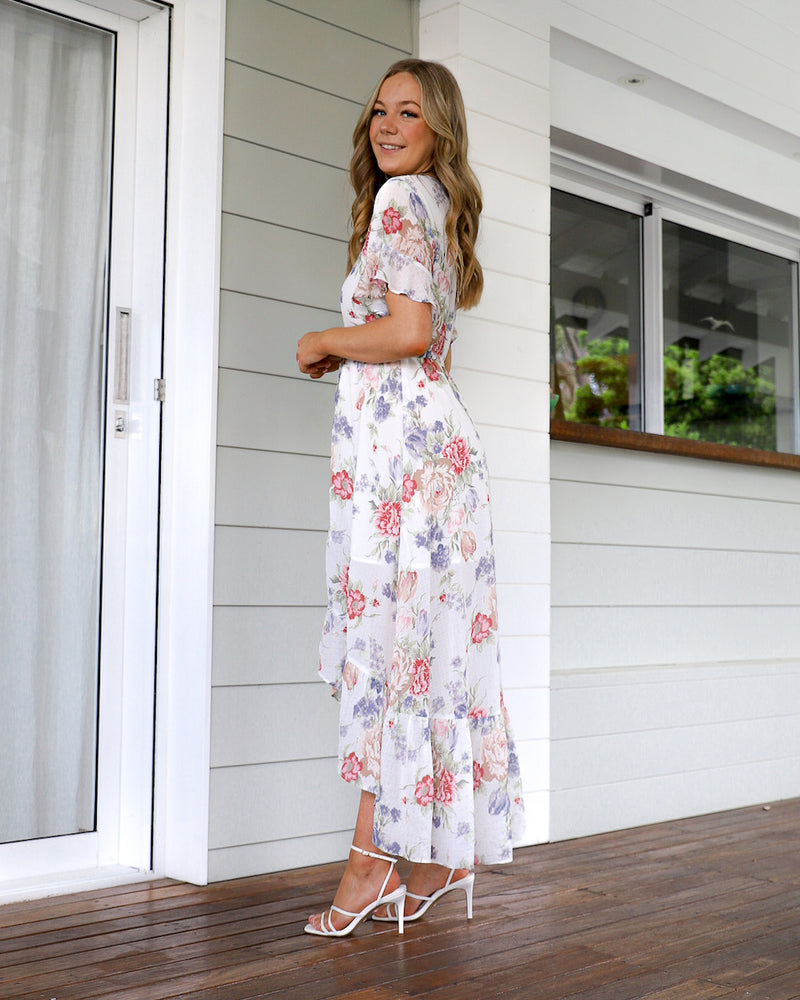 Spring  Maxi  Dress - White floral