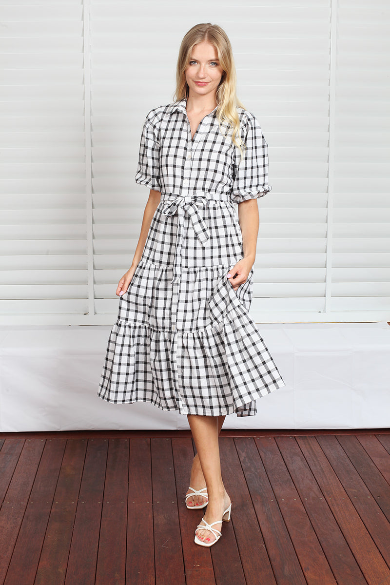 Byron Dress  - Black Check