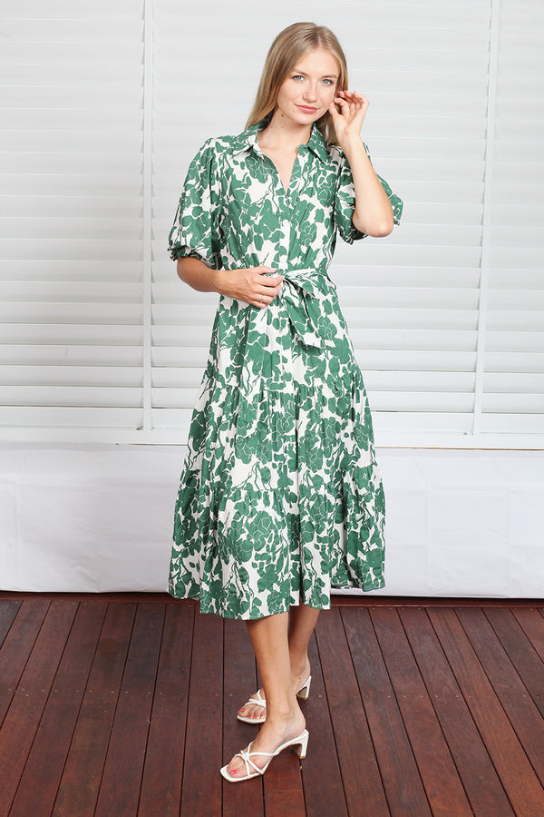 Byron Dress  - Green Floral