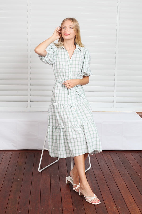 Byron Dress  - Green Check