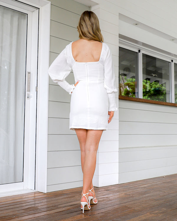 Nissa long sleeve Mini Dress - White
