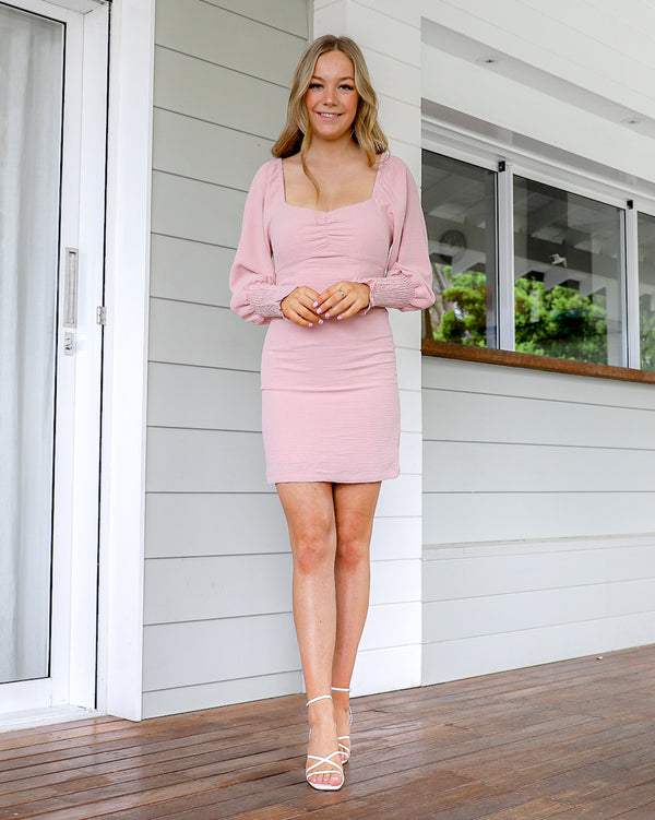 Nissa long sleeve Mini Dress - Dusty Pink