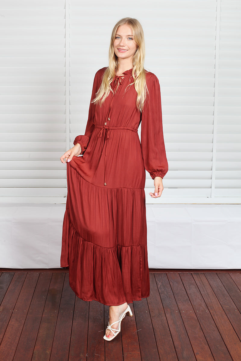 Lucy Maxi Dress - Rust