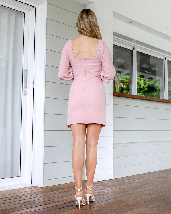 Nissa  Mini Dress - Dusty Pink