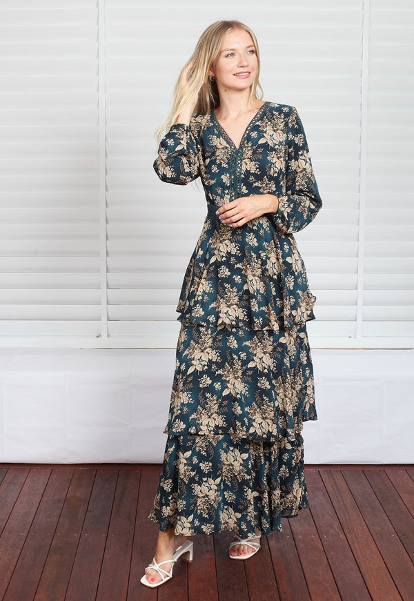 Bridget Maxi Dress - Green Floral