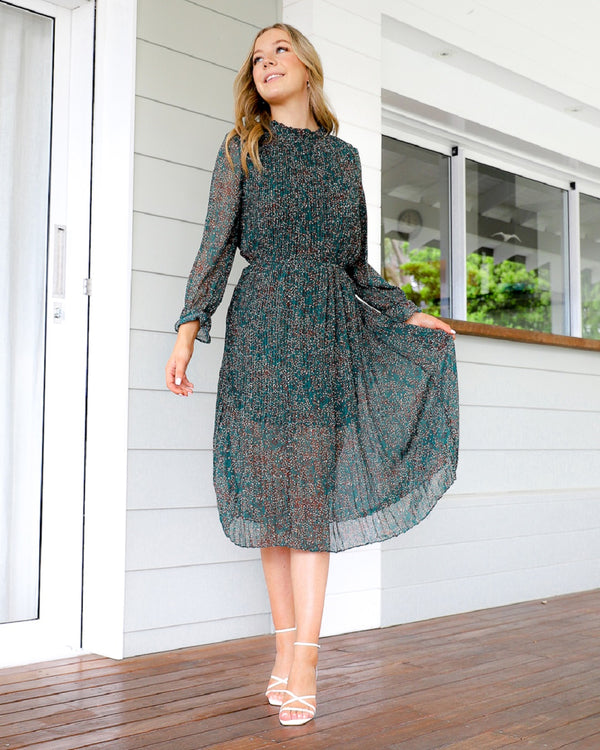 Paris Midi Dress - Emerald