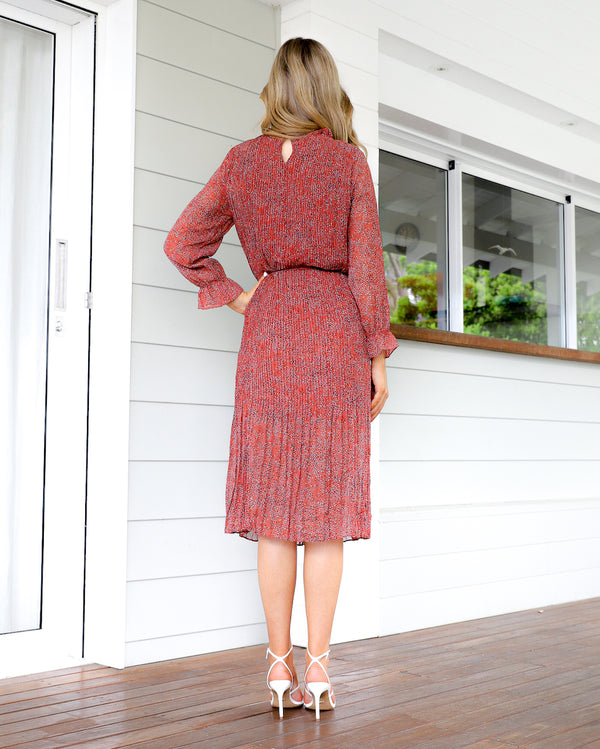 Paris Midi Dress - Rust