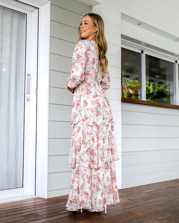 Harla Long Sleeve Maxi Dress - Blush  floral