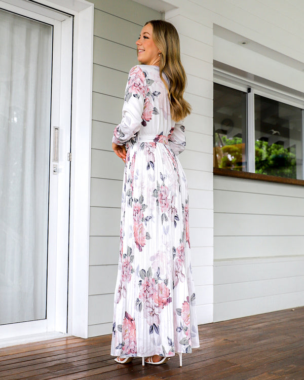 Jaranda Long Sleeve Maxi Dress - White Floral