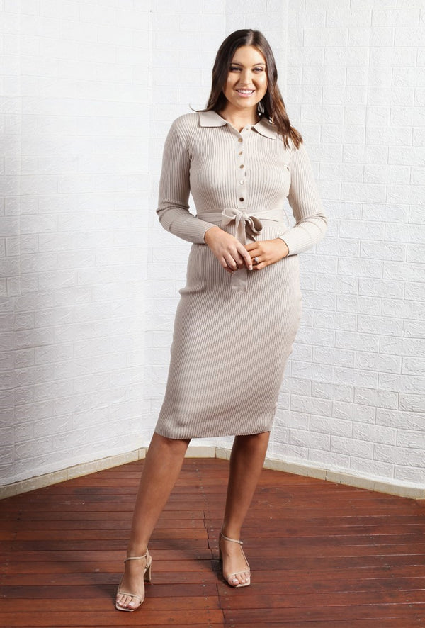 Coco Knitted Dress - Stone