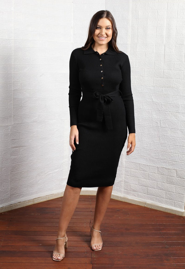 Coco Knitted Dress - Black