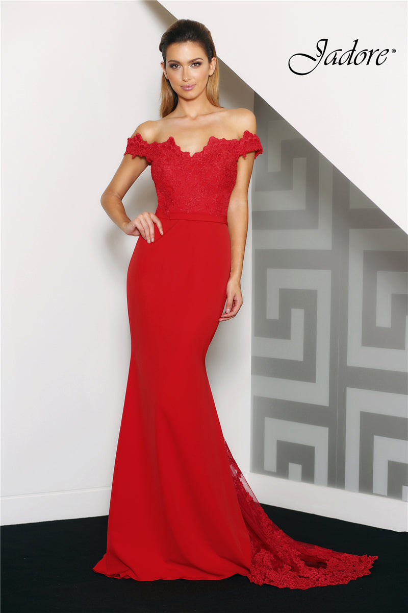 Ally Gown by Jadore Latte/Red (Made To Order)