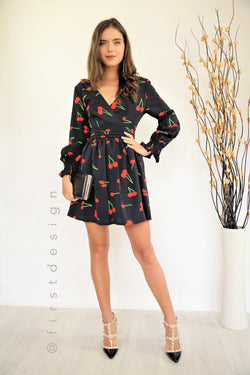 Ava Dress Cherry Print Navy