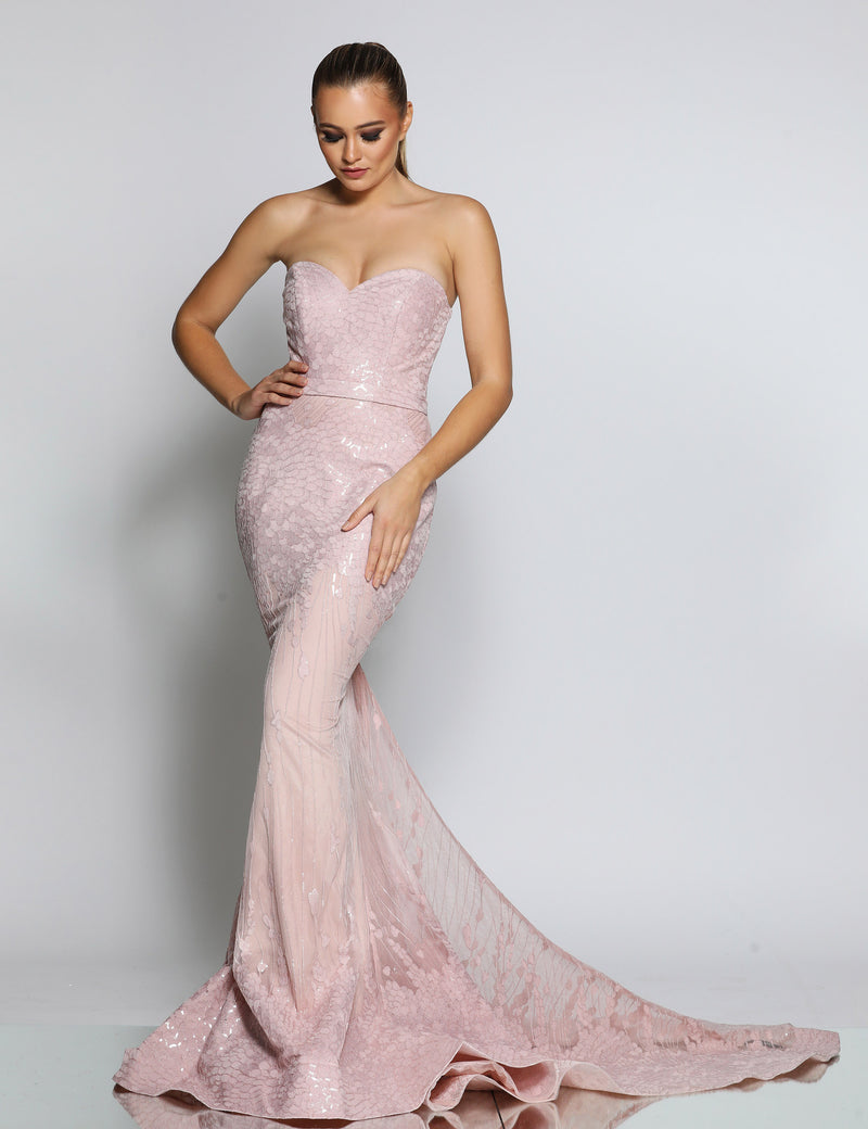 Venice Gown by Jadore in Dusty pink