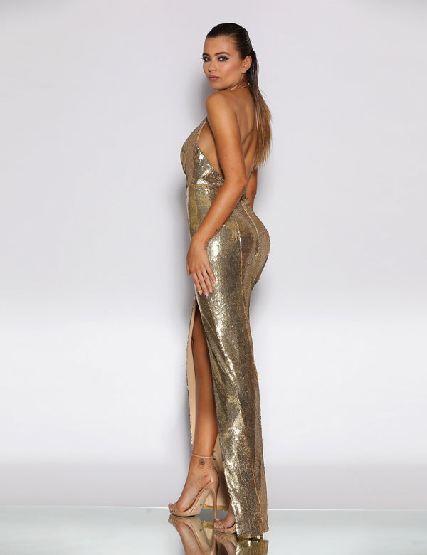 Amarni Gown by Jadore in Gold