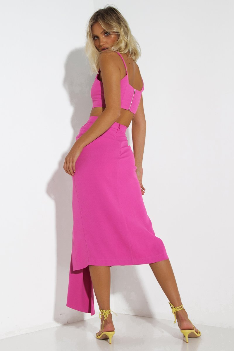 Neo Set Dress  In Magenta