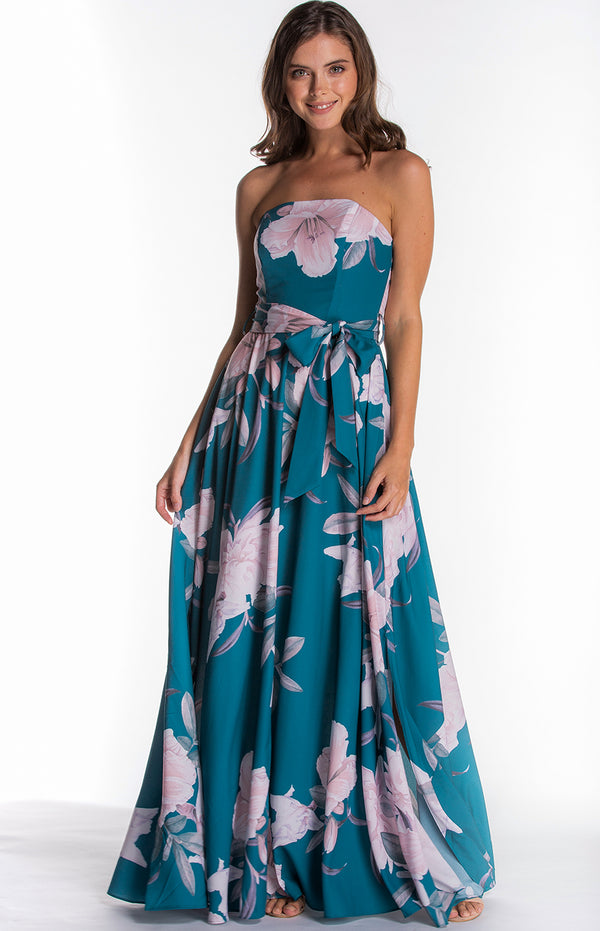 Nola Maxi Dress In Green floral