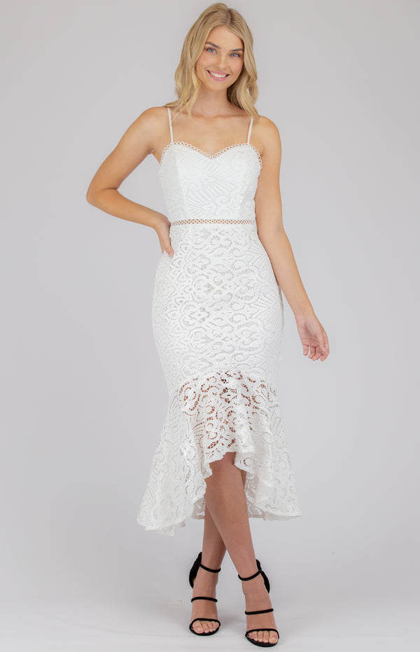 Bellian Midi  Lace Dress - White