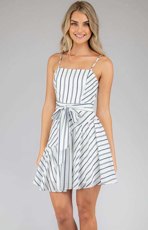 Cleo  Mini Dress In Navy Stripe