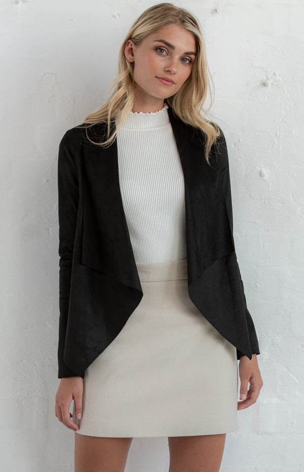 Ash Suede Waterfall Jacket In Black