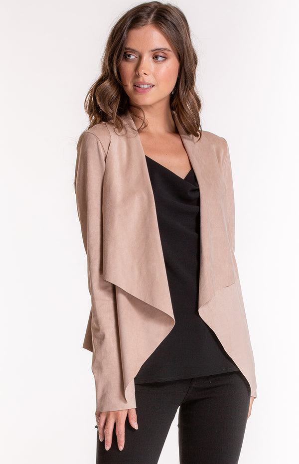 Ash Suede Waterfall Jacket In Camel