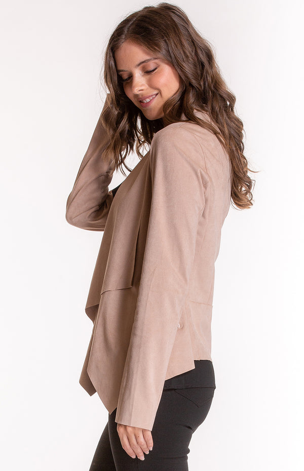 Suede Waterfall lapel Jacket in Camel