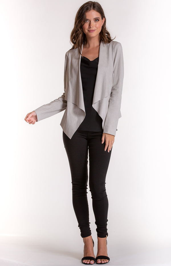 Ash Suede Waterfall  Jacket In Grey