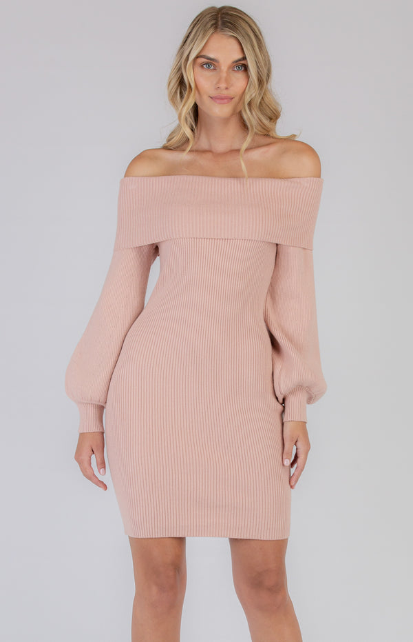 Polly Knit Dress In Blush
