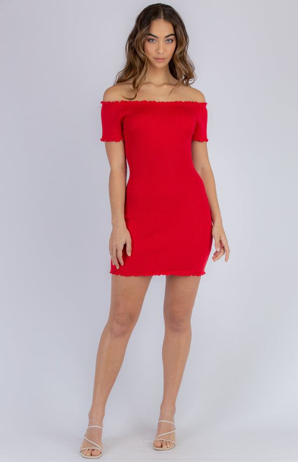 Rosie Mini Knit Dress - Red