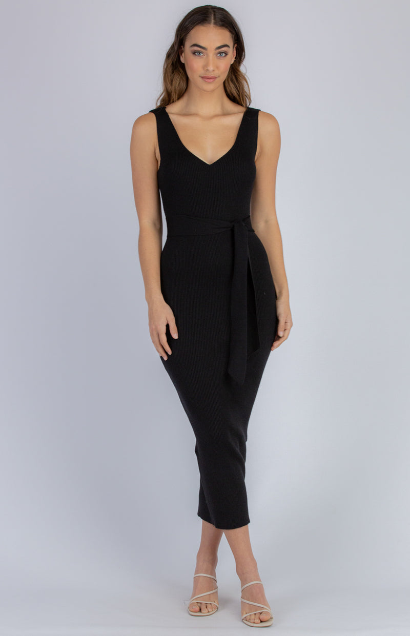 Demi Midi Knit Dress - Black