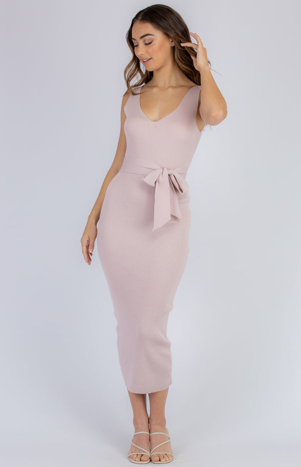 Demi Midi Knit Dress - BLush