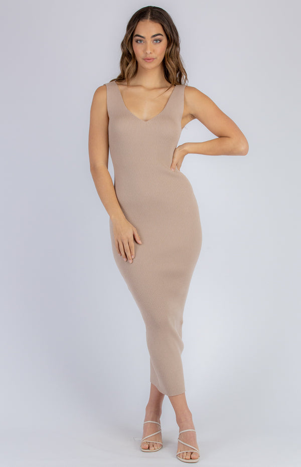 Demi Midi Knit Dress - Light Camel