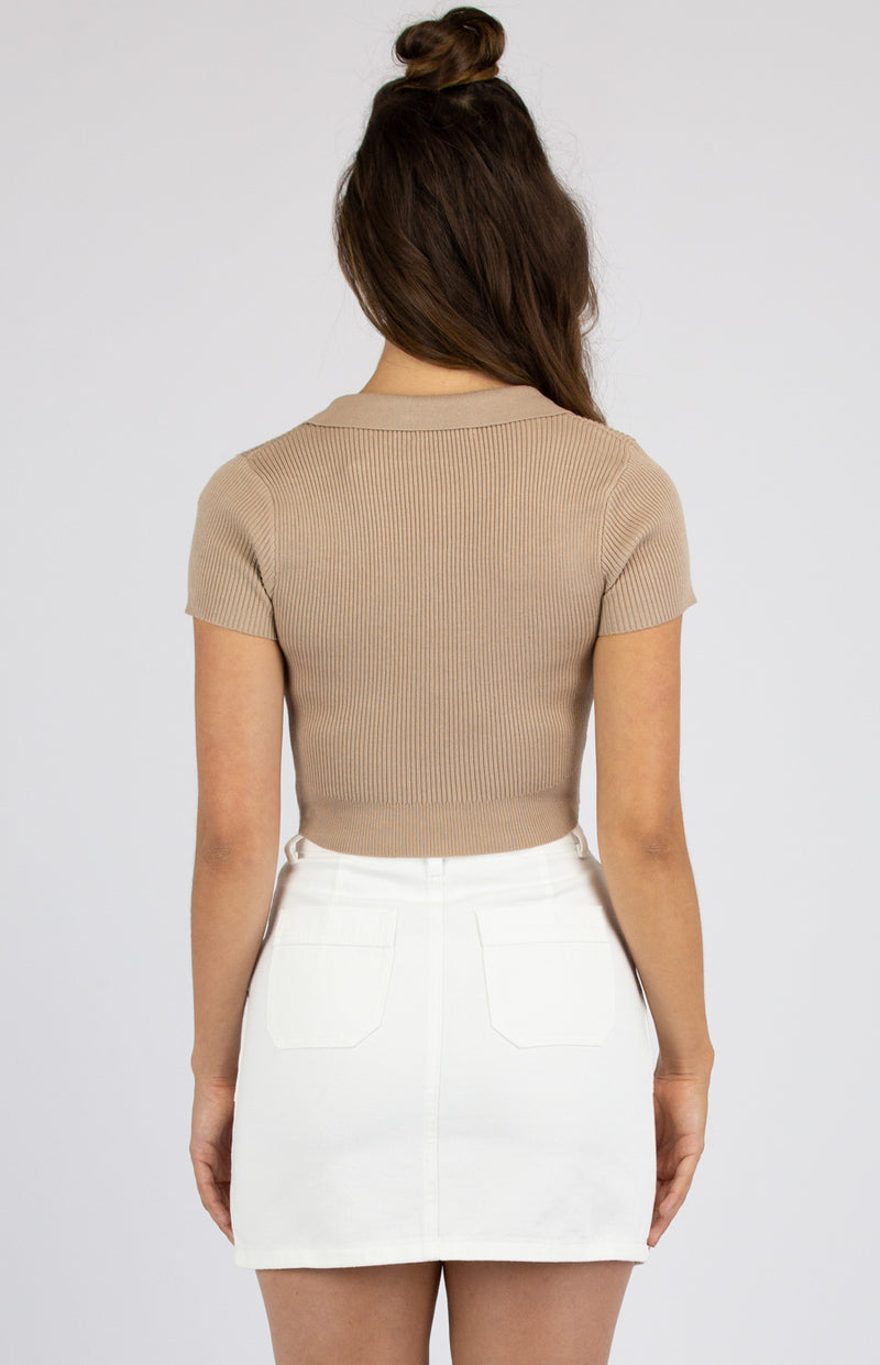 Fara Knitted Crop Top - Camel