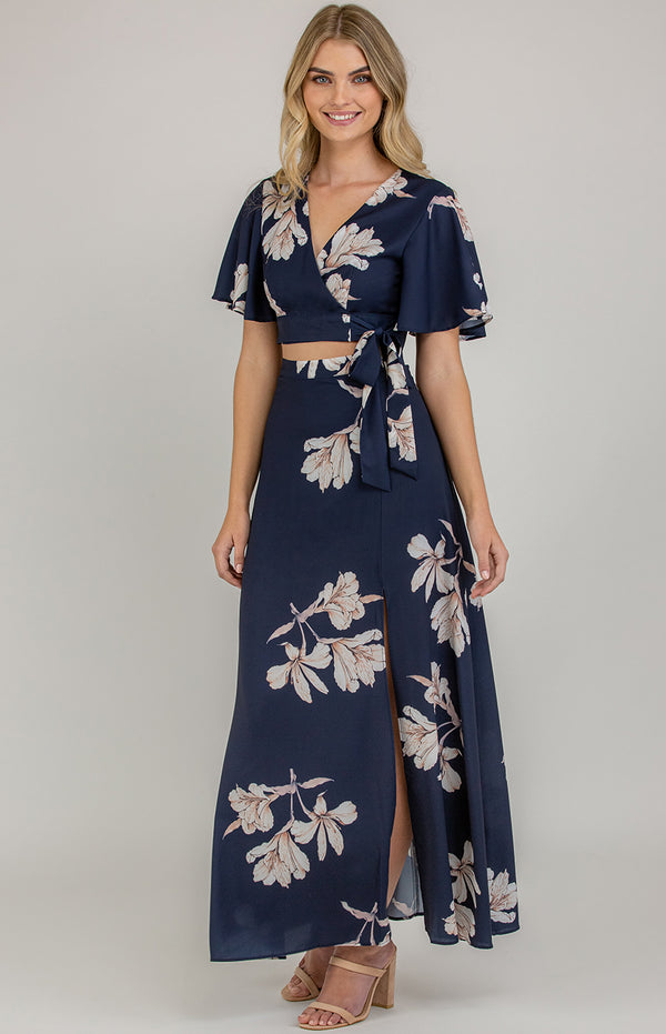 Honey Maxi Skirt Set -Navy Floral