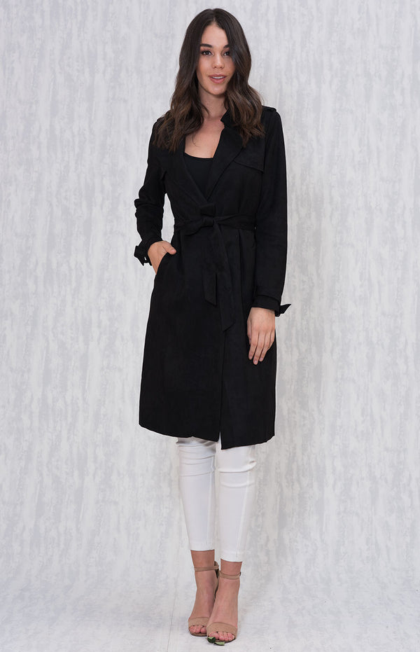 Sydney Suede Trench Coat In Black