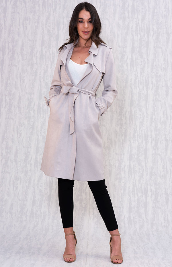 Sydney Suede Trench Coat In Grey
