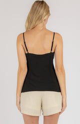 Cami Cowl Neck Top In Black