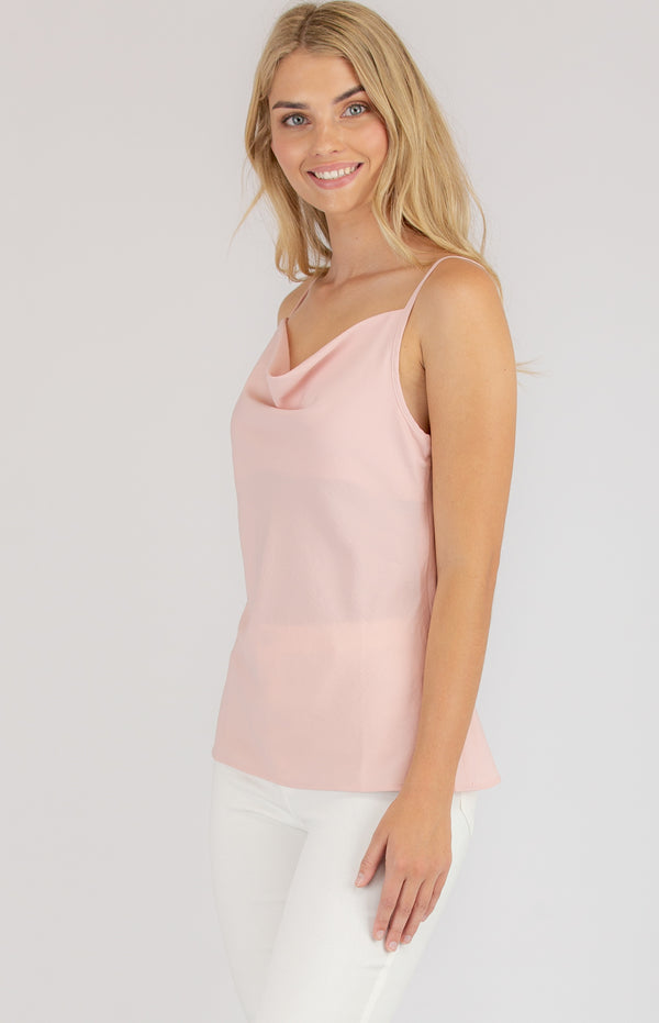Cami Cowl Neck  top In Blush