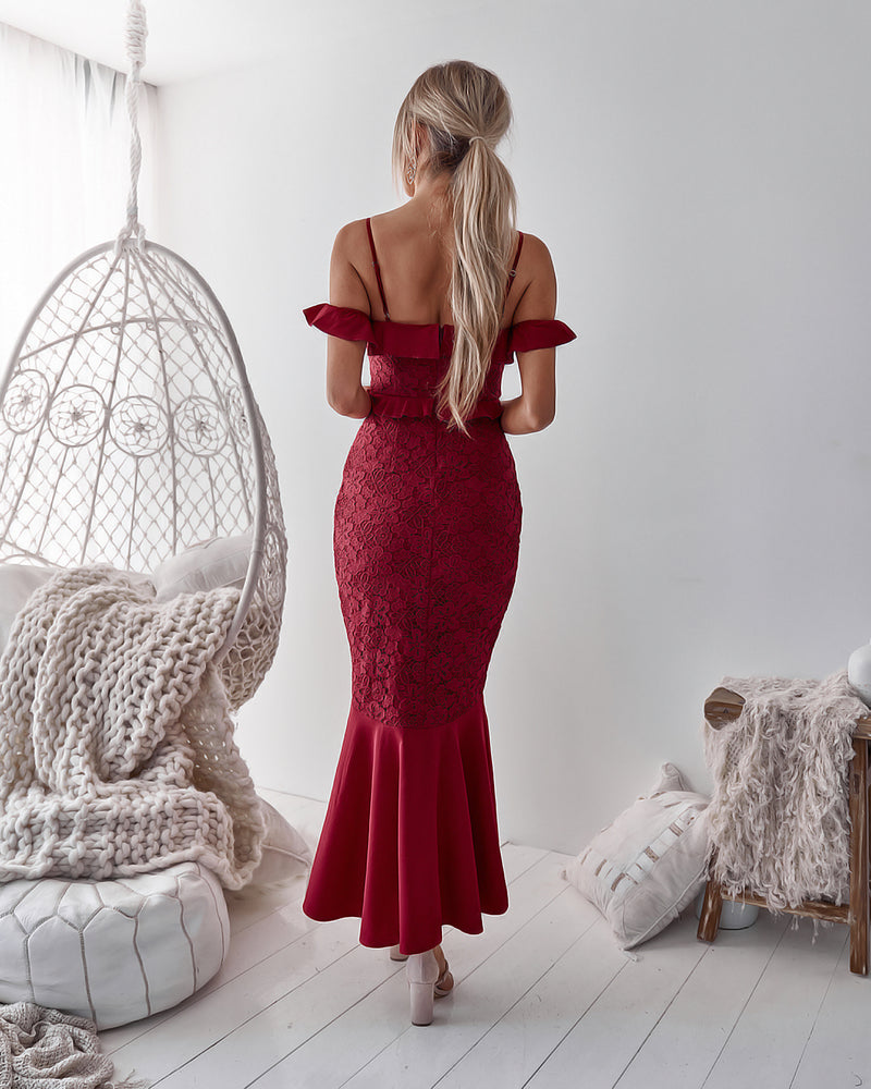 Taylor Lace Dress in Red