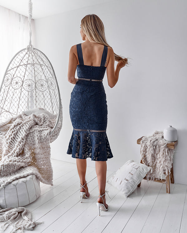 Tia Dress in Navy