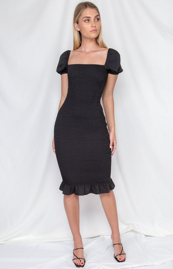 Lana Midi  Dress - Black