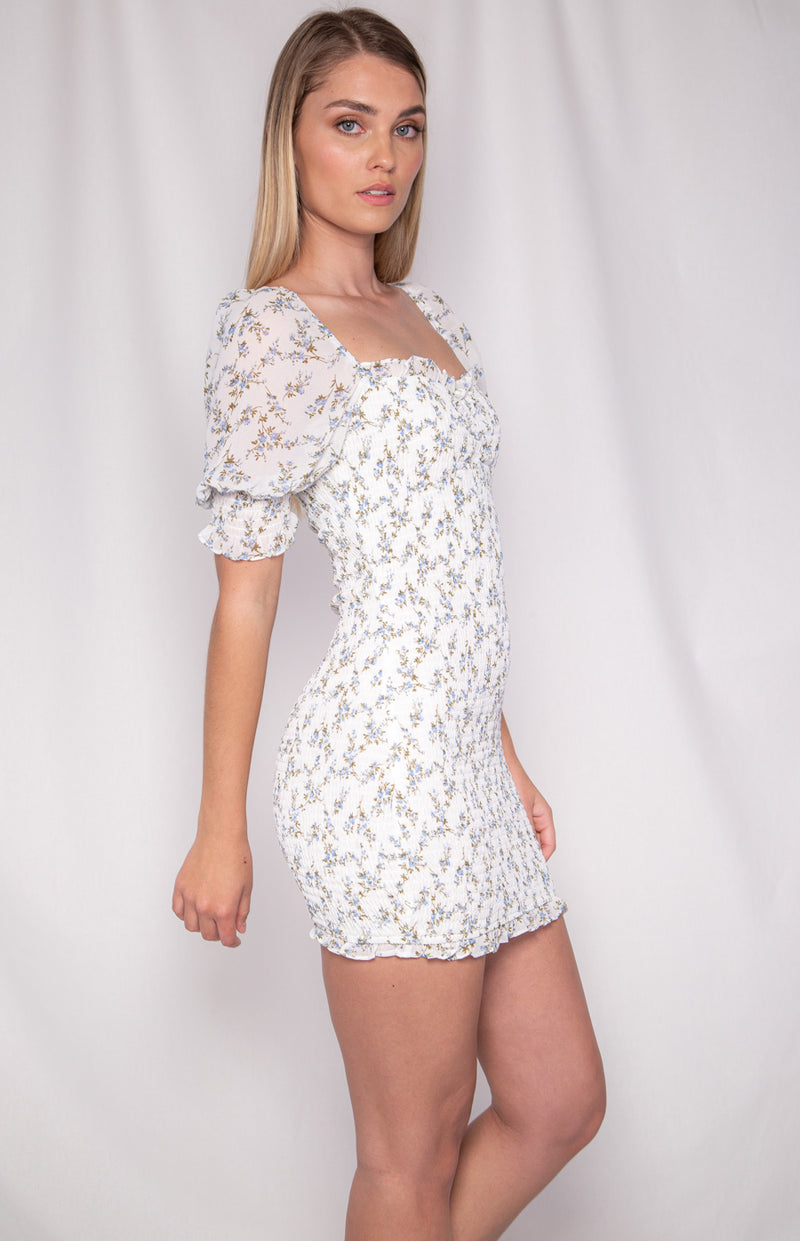 Magie Shirred Dress - White  Print