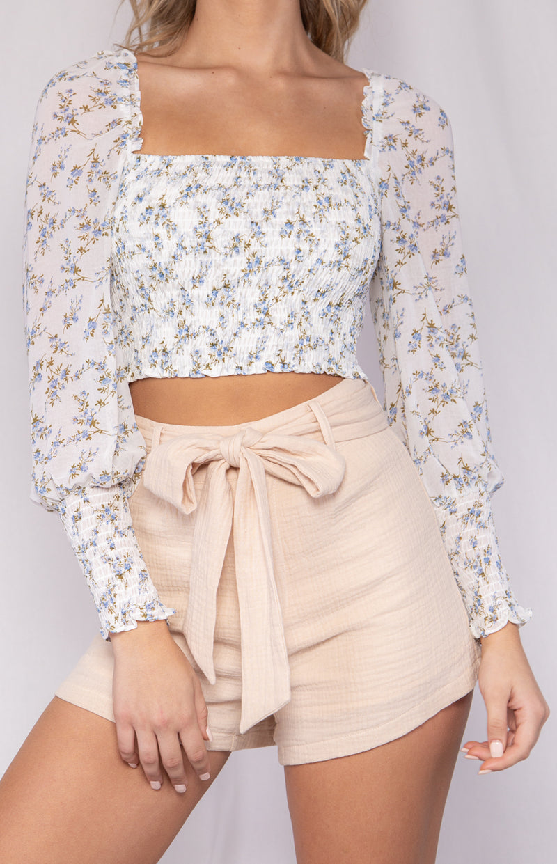 Agentina Crop Top - White Ditsy Print