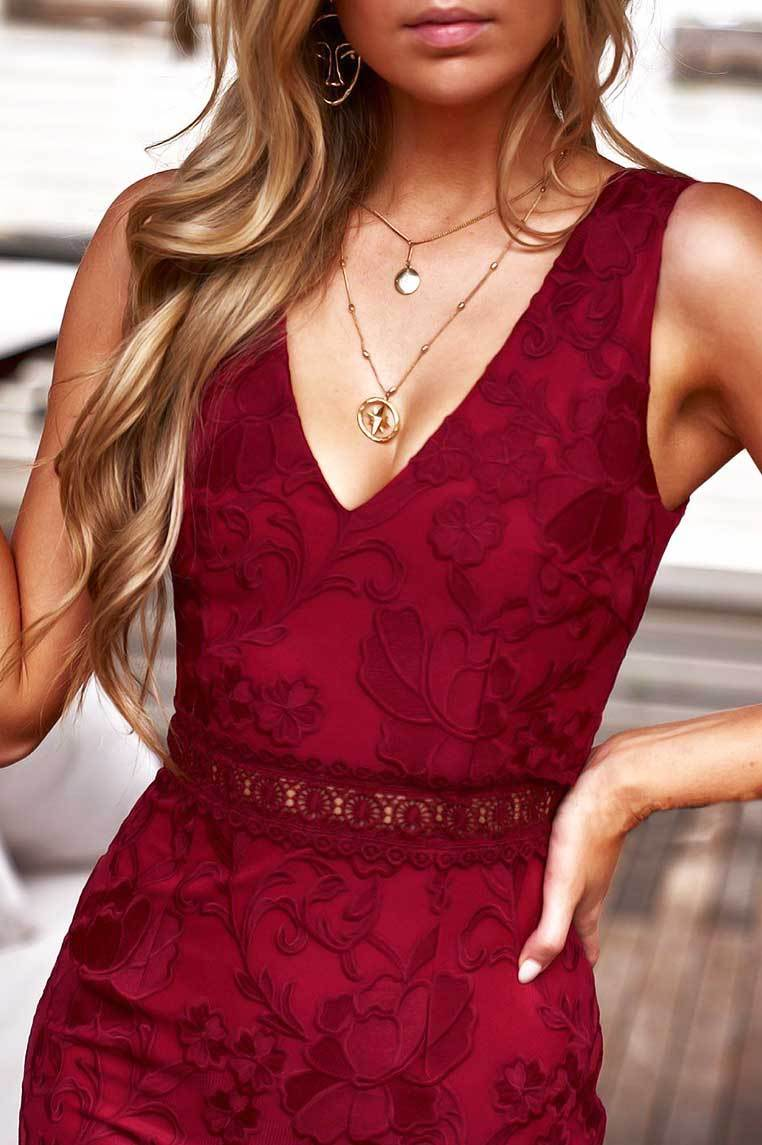 Ivory Dress In Red