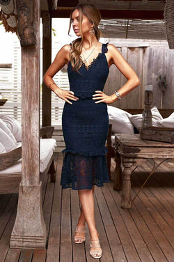 Cordelia Dress in Navy